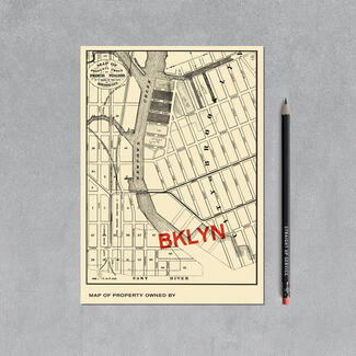 Brooklyn map postcard